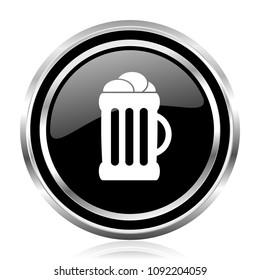 Beer black silver metallic chrome border glossy round web icon