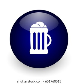 Beer blue glossy ball web icon on white background. Round 3d render button.