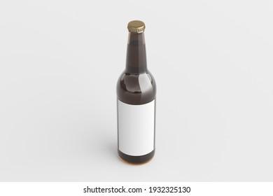 Beer bottle 500ml mock up with blank label on white background. Side view. 3d illustration