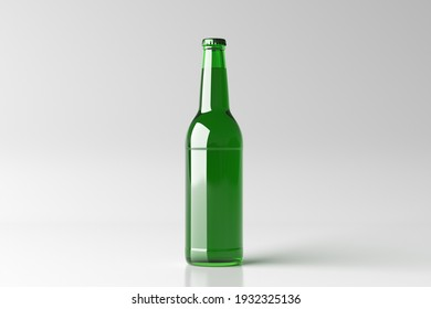 Beer bottle 500ml mock up on white background. Front view. 3d illustration