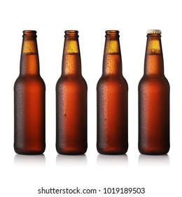Beer bottle brown glass 3D illustration