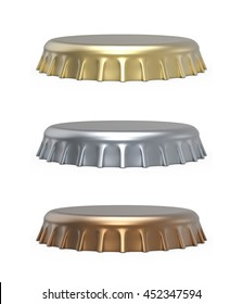 Beer bottle cap isolated on white background. Side view of the metal lid 3D rendering.