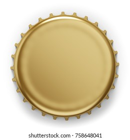 Beer bottle cap isolated on white background. Top view of the metal lid 3D rendering.
