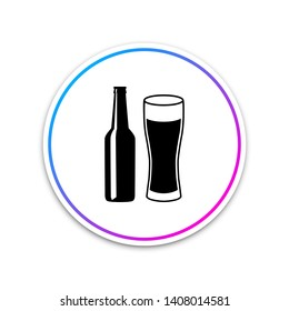 Beer bottle and glass icon isolated on white background. Alcohol Drink symbol. Circle white button