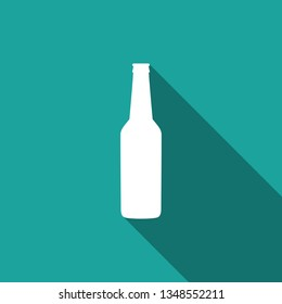 Beer bottle icon isolated with long shadow. Flat design