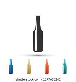 Beer bottle icon isolated on white background. Set elements in colored icons. Flat design