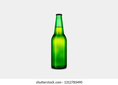 Beer Bottle Mock-Up isolated on soft gray background. 3D rendering.