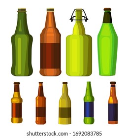 Beer bottles set. Collection of various alcoholic beverages. Can be used for topics like ale, pub, drink