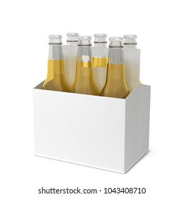 Beer bottles six pack. 3d illustration isolated on white background