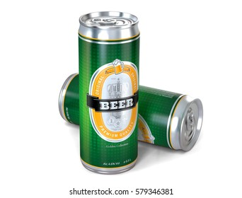 Beer cans isolated on white background. 3d illustration.
