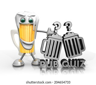 beer character presents a pub quiz symbol isolated on with background in 3d rendered style