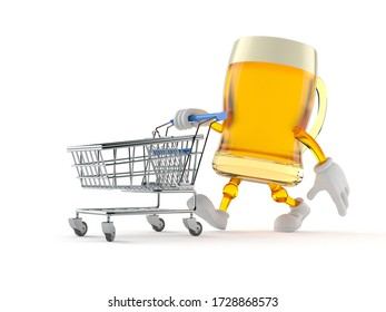 Beer character with shopping cart isolated on white background. 3d illustration