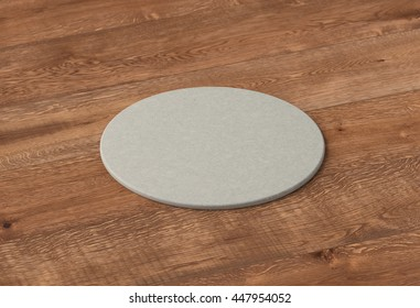 Beer coaster. Isolated on wooden table. Include clipping path. 3d render