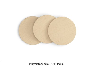 Beer coasters. Isolated on white background. Include clipping path. 3d render