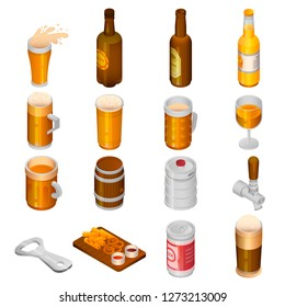 Beer drink icon set. Isometric set of beer drink icons for web design isolated on white background