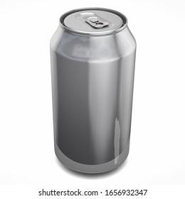 Beer Drink Silver Can Mockup. 3D Illustration.