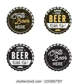 Beer emblems collection. Color and silhouette styles. Pub logo. Nice for brewery posters, t shirts, brewing prints. Stock patches isolated on white background