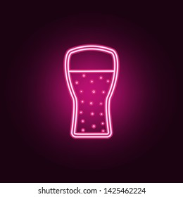 Beer glass neon icon. Elements of fast food set. Simple icon for websites, web design, mobile app, info graphics
