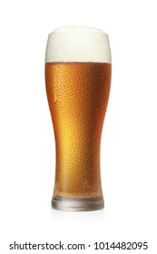beer glass on a white