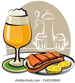 beer glass and sandwich with salmon