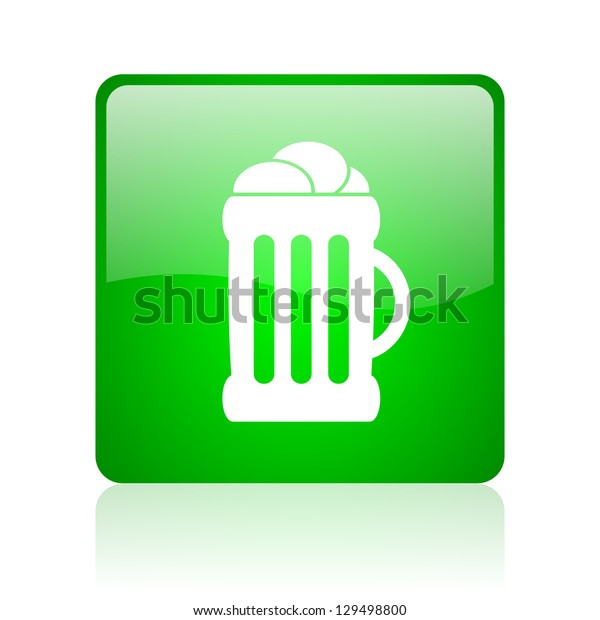 beer green square web icon on white background