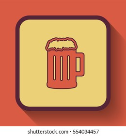 Beer icon, colored website button on orange background.