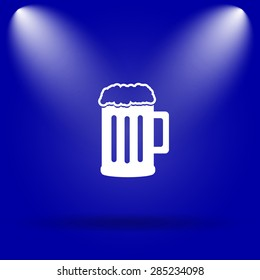 Beer icon. Flat icon on blue background.