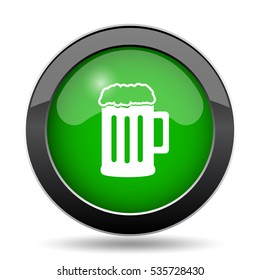 Beer icon, green website button on white background.
