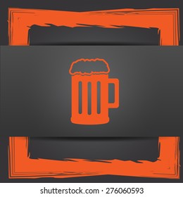 Beer icon. Internet button on grey background.