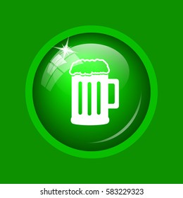 Beer icon. Internet button on green background.