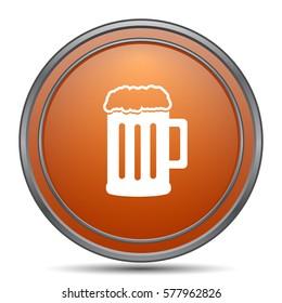 Beer icon. Orange internet button on white background.