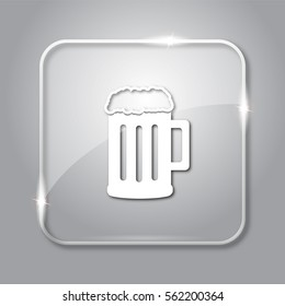 Beer icon. Transparent internet button on grey background.