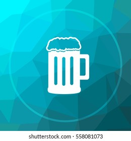 Beer icon. Beer website button on blue low poly background.