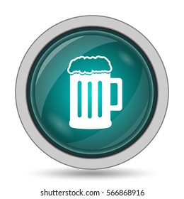 Beer icon, website button on white background.