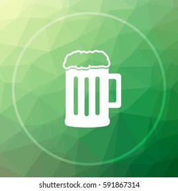 Beer icon. Beer website button on green low poly background.