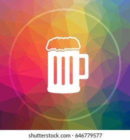 Beer icon. Beer website button on low poly background.