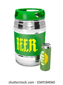 Beer keg and can on white background (3d illustration).