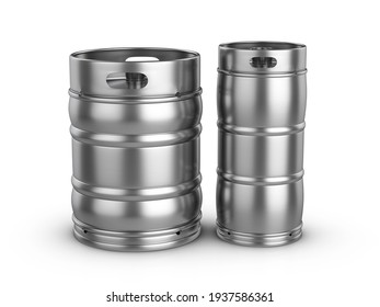 Beer kegs on a white background. 3d illustration.