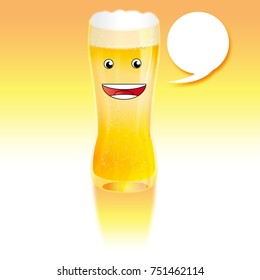 beer with a laughing face and a text bubble