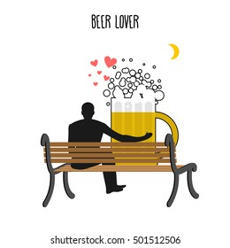Beer lover. malt mug and watch people on moon. Date night. Lovers sit on bench. Month in  dark sky. Romantic illustration alcohol