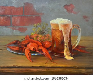 beer mug with frothy beer and boiled crawfish on the table,handmade painting, oil painting on canvas, alcohol, red, drink, food, crayfish, glass, beer