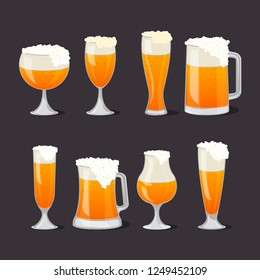 Beer mugs with foam set in cartoon style. Brewery, alcohol drink, ale symbol. Beer glass collection, bar or pub menu design element. Glass pint tankards of frothy beer isolated illustrations.