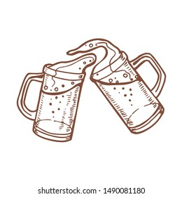 Beer Mugs. Toasting Glasses in Hand Drawn Style for for Surface Design Fliers Banners Prints Posters Cards. Illustration