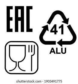 Beer packing icon set. Aluminium recycling symbol ALU 41. Food safe sign. EAC sign illustration symbol. Eurasian conformity mark symbol. Design isolated on white background