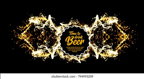 Beer party. Splash of beer with bubbles. illustration