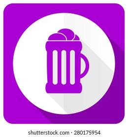 beer pink flat icon mug sign