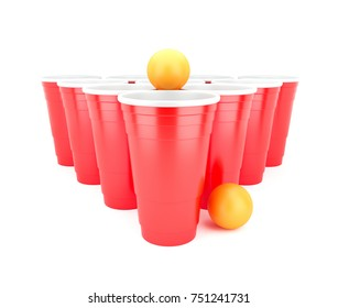 Beer Pong Red Plastic Cups with Ping Pong Balls on white background. 3D render