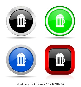 Beer red, blue, green and black web glossy icon set in 4 options
