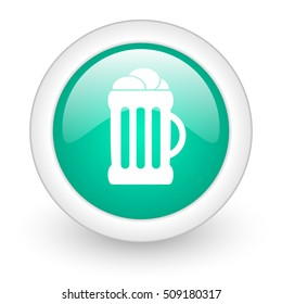 beer round glossy web icon on white background