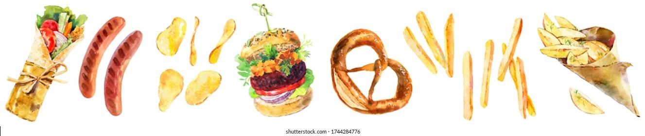 Beer snacks big set. Fastfood dinner. Shawarma doner kebab, hamburger, pretzel, chips, french fries watercolor illustration. Street food watercolour illustration. Tasty trendy attractive food design.